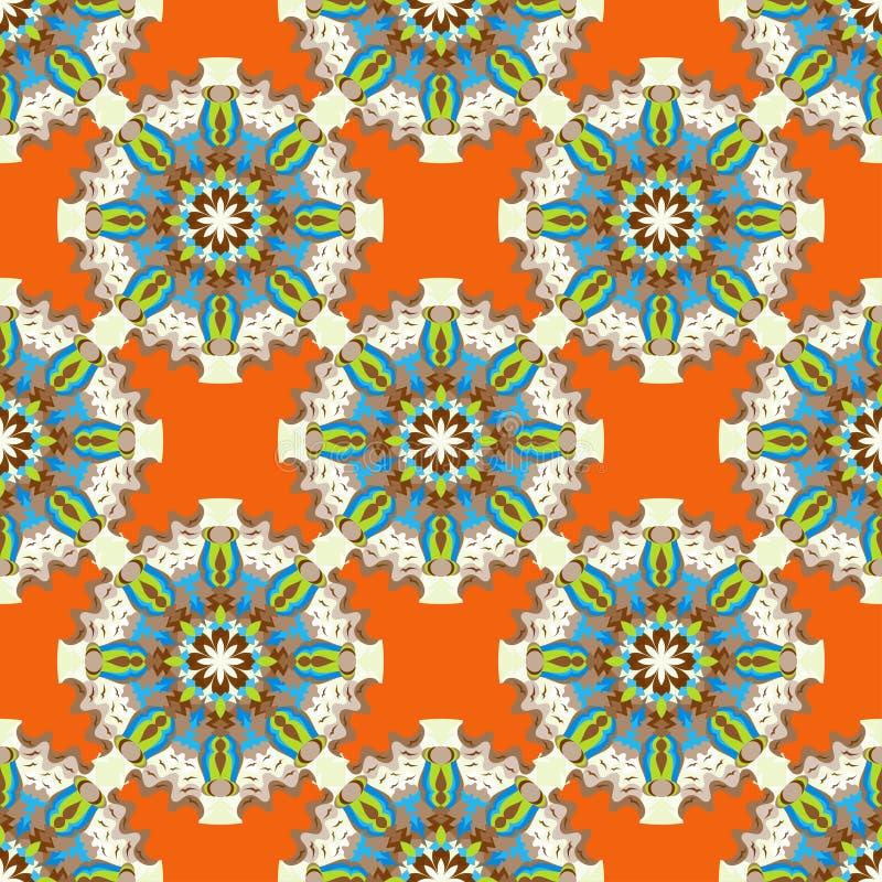 Los objetos coloreados hermosos en modelo inconsútil del fondo anaranjado abstracto vector el ejemplo libre illustration