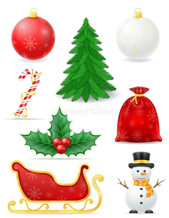 Los objetos de la Navidad fijaron el ejemplo común del vector de los iconos ilustración del vector