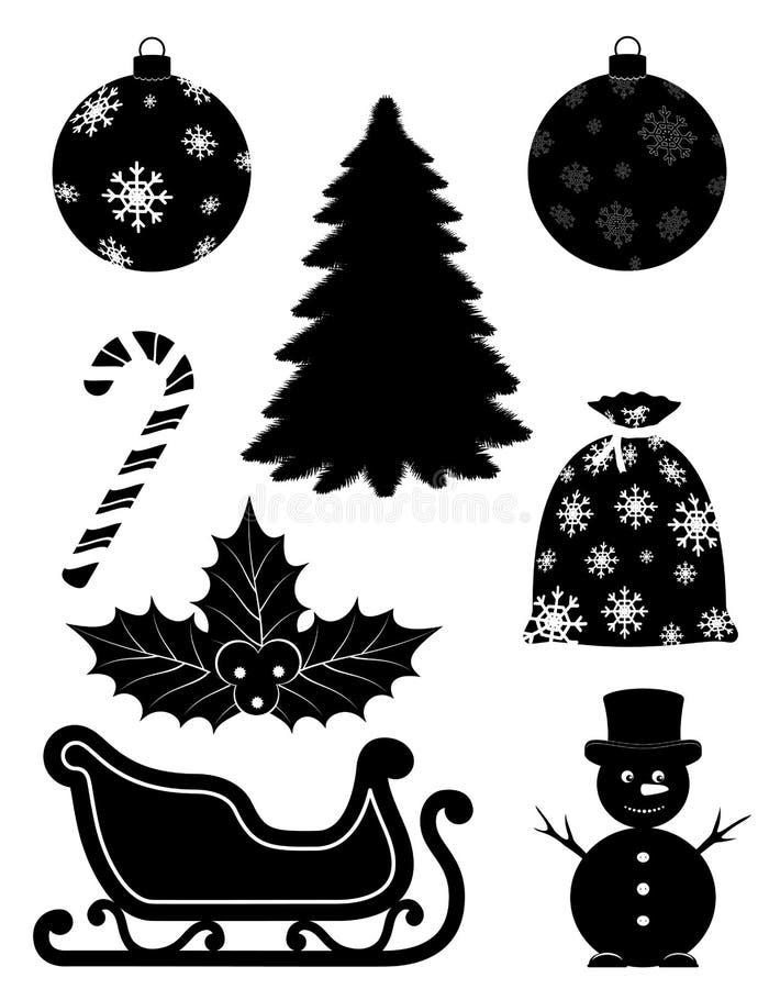 Los objetos de la Navidad fijaron vecto negro de la acción de la silueta del esquema de los iconos libre illustration