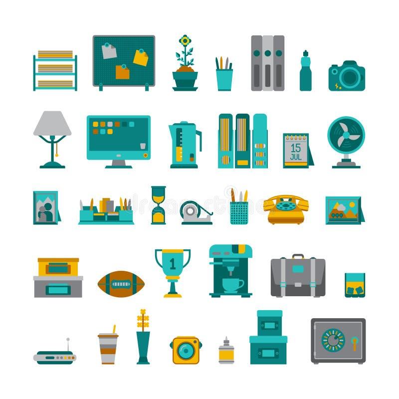 Los objetos interiores del vector común fijaron en estilo plano ilustración del vector