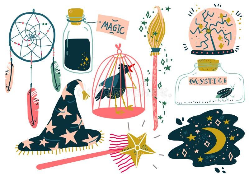 Los objetos mágicos fijaron, las cualidades de la brujería, ejemplo mágico del vector del equipo de la demostración stock de ilustración