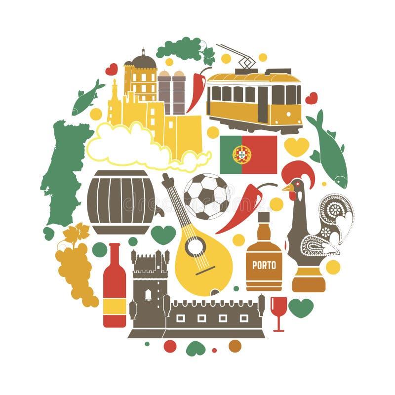 Los objetos tradicionales de Portugal vector la colección en círculo en blanco stock de ilustración
