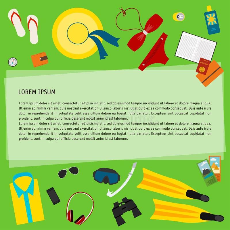 Los objetos utilizaron a la gente moderna el vacaciones aislada en el fondo verde para el uso en el diseño para la tarjeta, carte ilustración del vector
