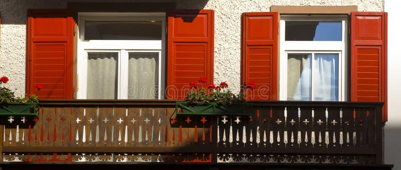 Los obturadores rojos florecen, dAmpezzo de la cortina, Italia imagen de archivo libre de regalías