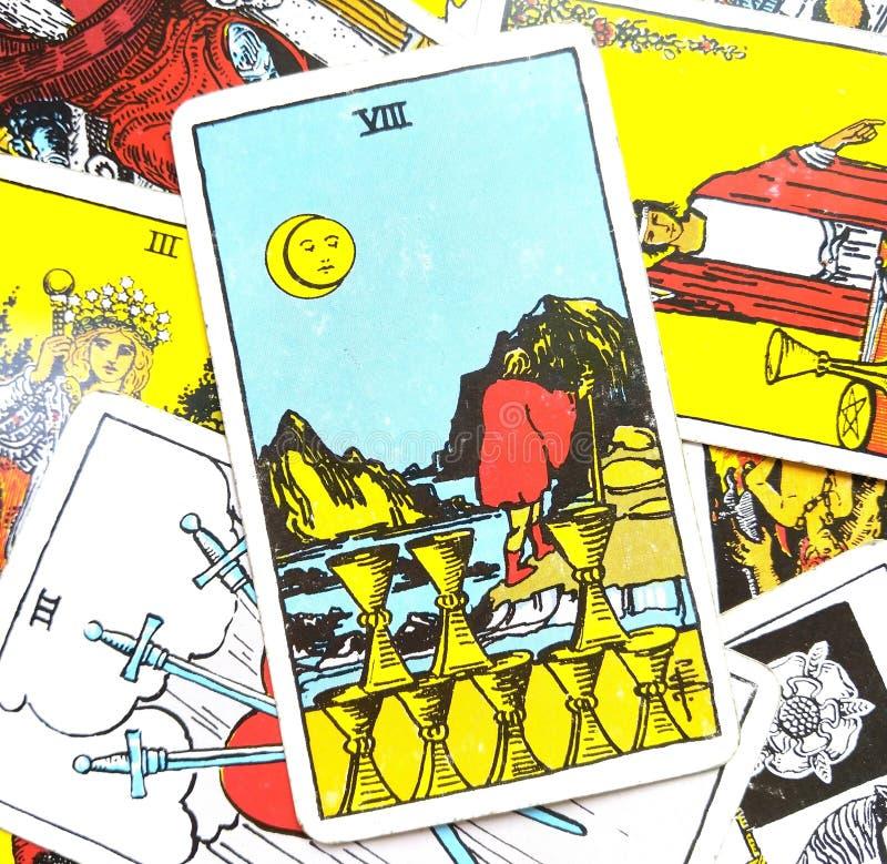 Los ocho VIII de la carta de tarot de las tazas ilustración del vector