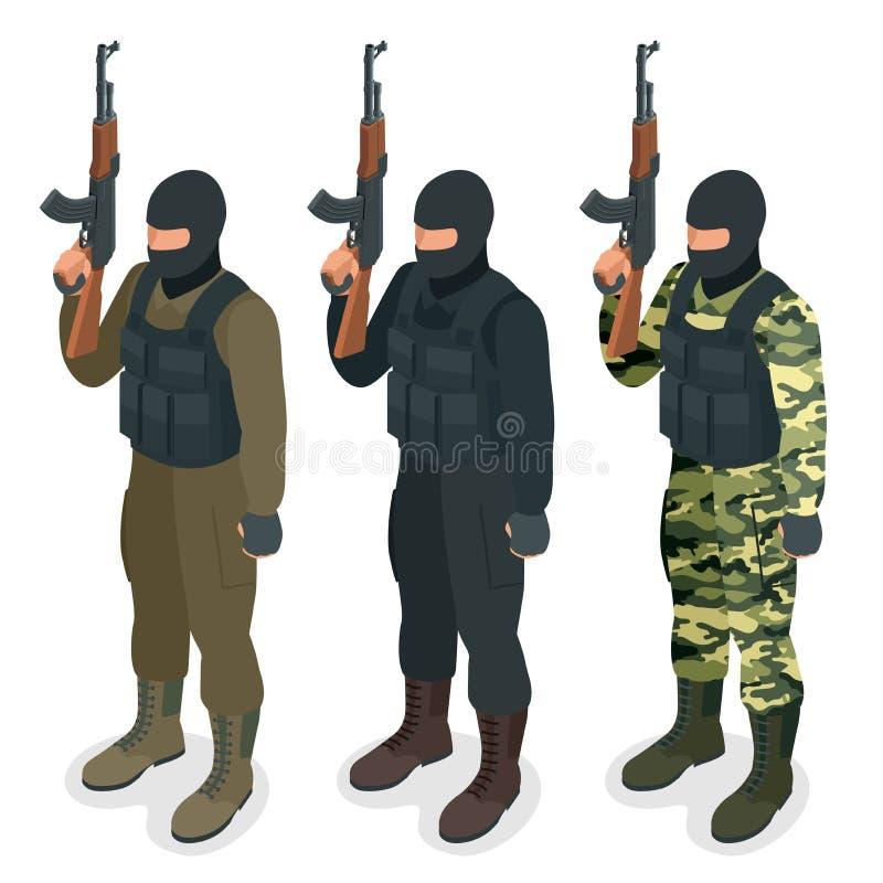 Los oficiales de policía de los ops de espec. GOLPEAN CON FUERZA en el soldado del uniforme del negro, oficial, francotirador, un libre illustration