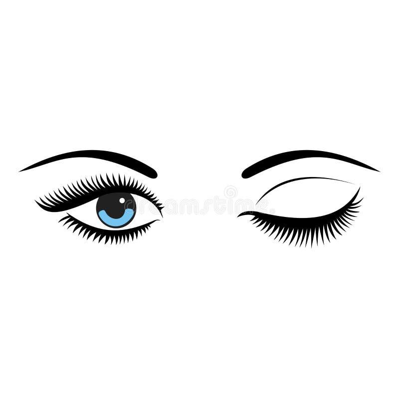 Los ojos azules de las mujeres hermosas con componen ilustración del vector