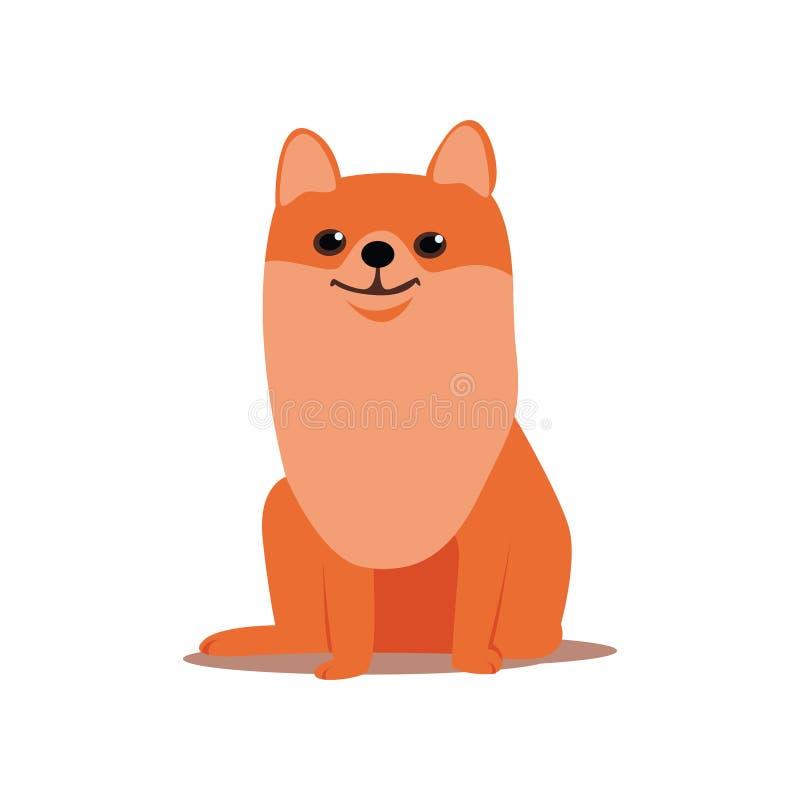 Los ojos brillantes del perro rojo lindo del perro de Pomerania permanecen en el lugar stock de ilustración