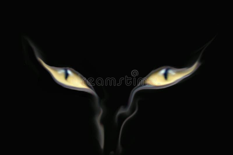 Los ojos de gato aparecieron del humo que de la parte inferior sube LOGOTIPO imagenes de archivo