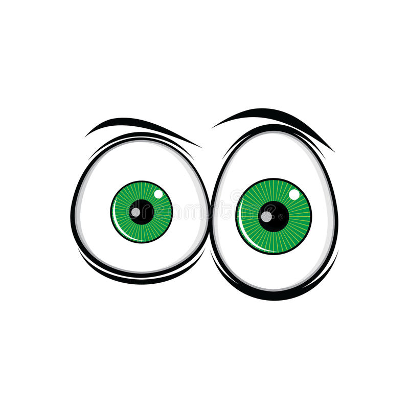 Los ojos verdes divertidos de la historieta para los tebeos diseñan arte ilustración del vector