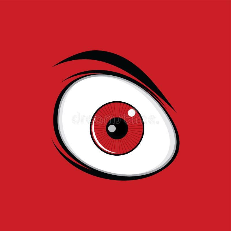 Los ojos verdes divertidos de la historieta para los tebeos diseñan arte libre illustration