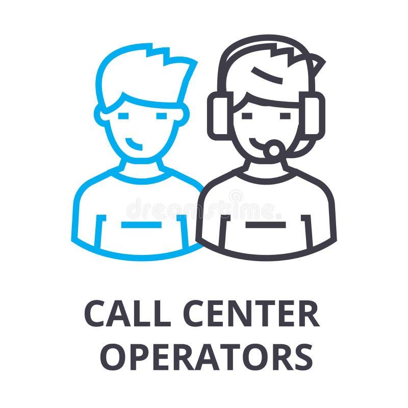 Los operadores de centro de atención telefónica enrarecen la línea icono, muestra, símbolo, illustation, concepto linear, vector libre illustration