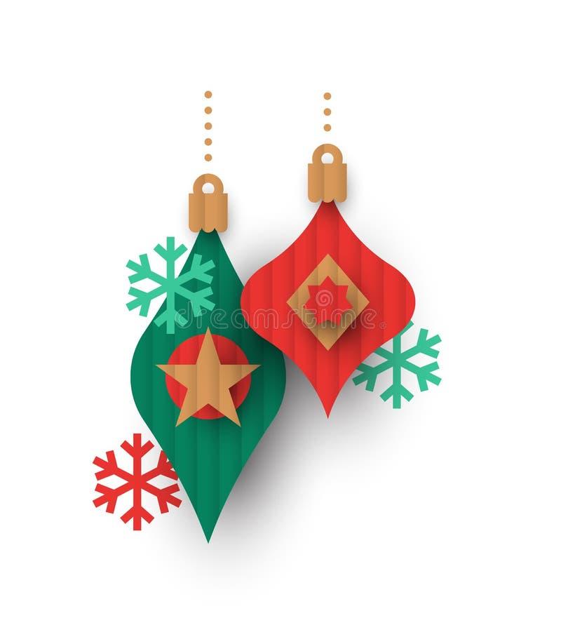 Los ornamentos de la chuchería del papercut de la Navidad aislaron ilustración del vector