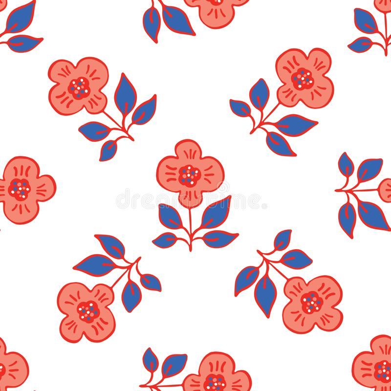 los a?os 50 dise?an a Daisy Flower Seamless Vector Pattern retra Verano exhausto de la mano floral popular libre illustration