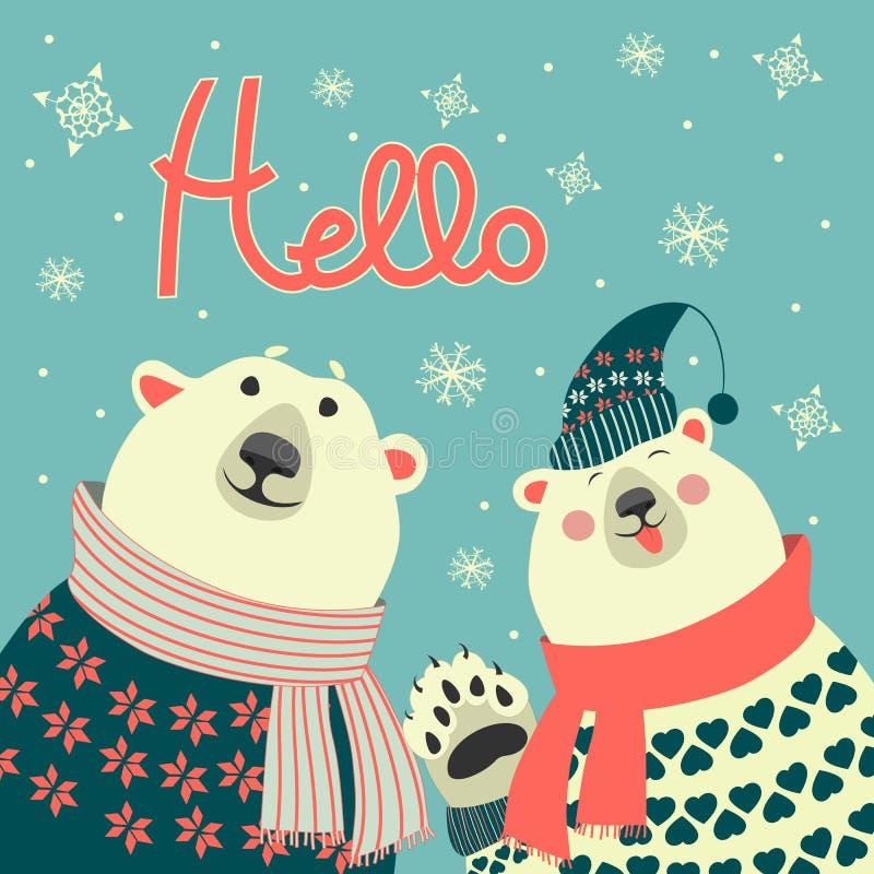 Los osos polares dicen hola stock de ilustración