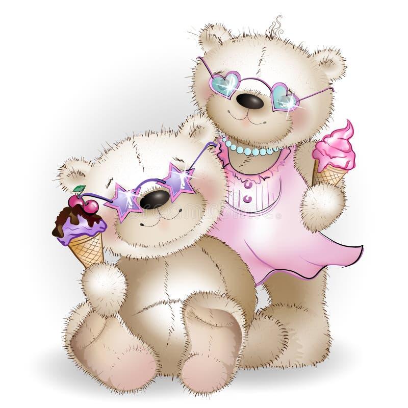 Los osos sientan y comen el helado stock de ilustración