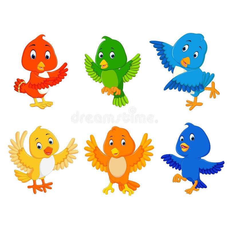 Los pájaros de la colección con el diversos color y presentación ilustración del vector