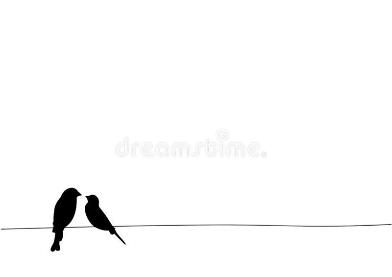 Los pájaros en el alambre, etiquetas de la pared, dos pájaros en diseño del ejemplo del alambre, pájaros siluetean Aislado en el  stock de ilustración