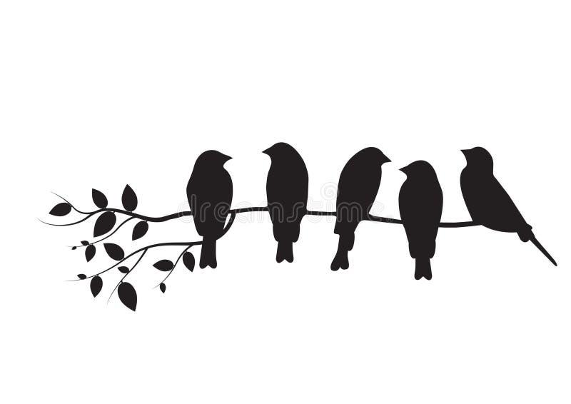Los pájaros en el ejemplo de la rama, pájaros en diseño del árbol, pájaros siluetean, emparedan etiquetas Art Design, diseño de l stock de ilustración