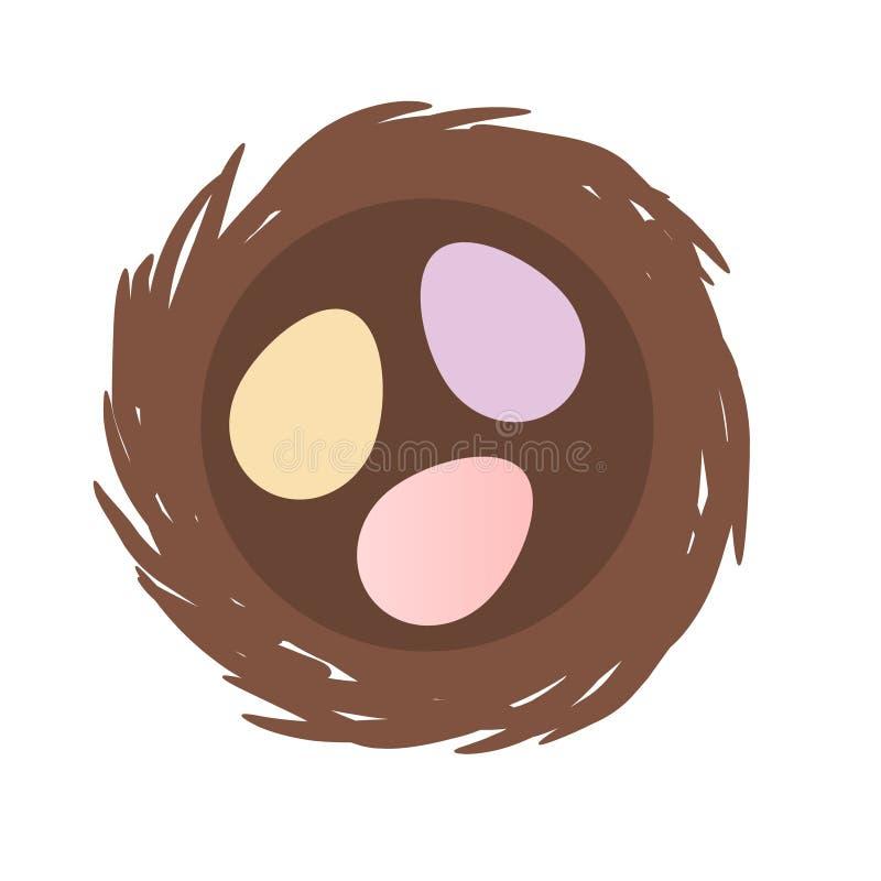 Los pájaros jerarquizan con tres huevos dentro icono aislado del vector ilustración del vector