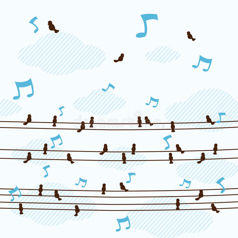 Los pájaros mucho pequeños cantan una canción en la línea vector foto de archivo
