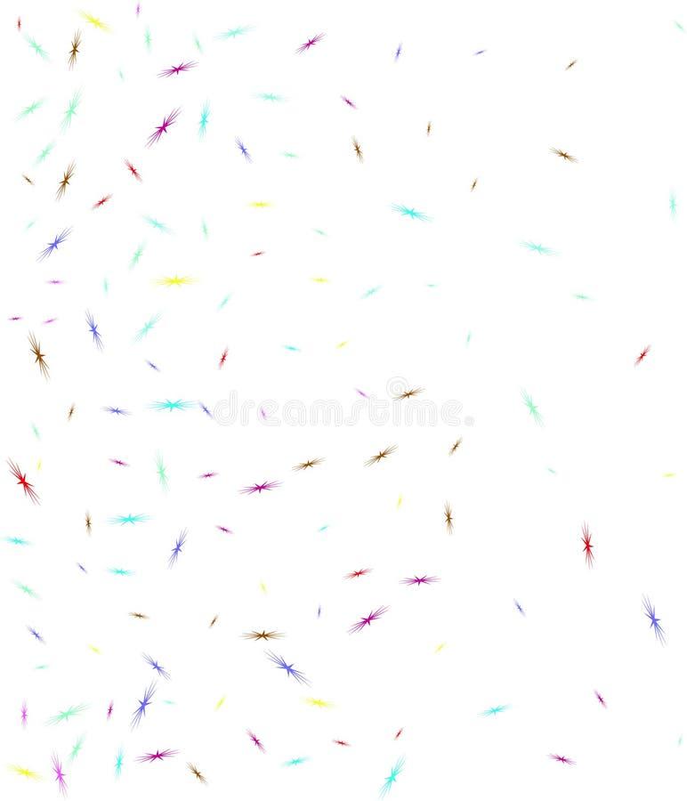 Los pájaros multicolores de la estrella forman confeti de par en par ilustración del vector