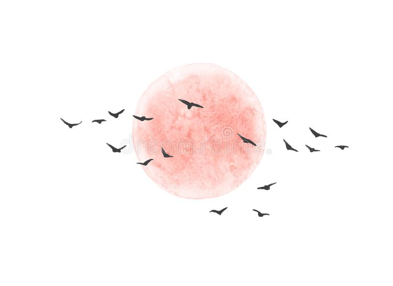 Los pájaros rojos de Sun y de vuelo aislaron ilustración del vector
