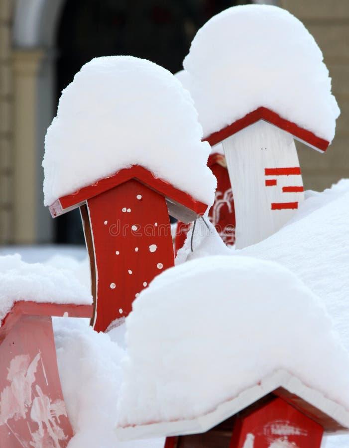 Los Pájaros Se Dirigen En La Nieve Fotos de archivo