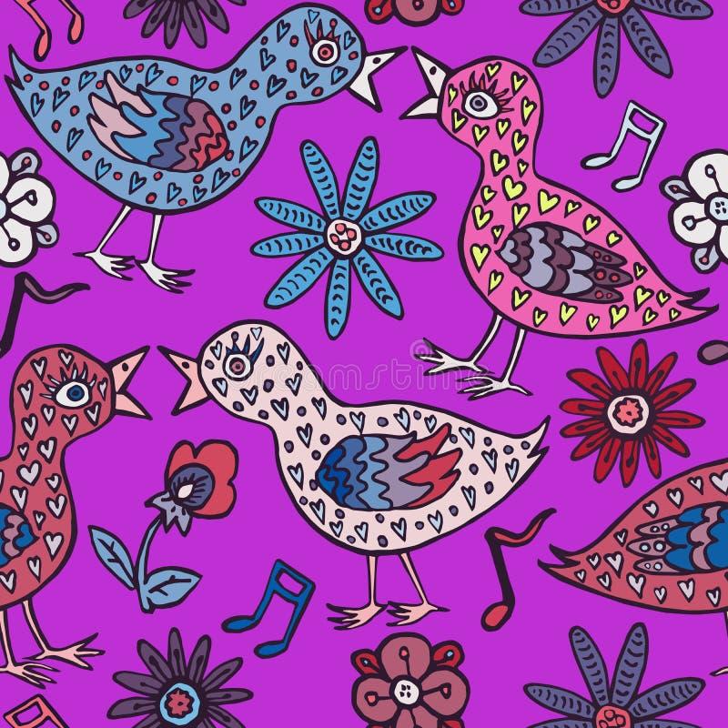 Los pájaros se juntan en amor con las plumas, las flores y las notas de la forma del corazón stock de ilustración