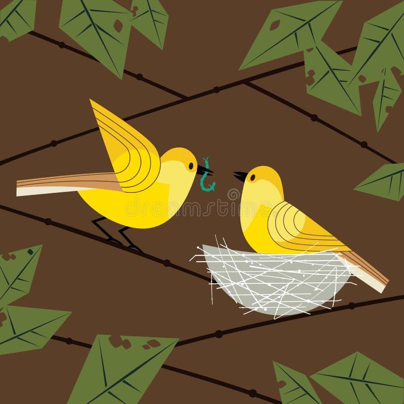 Los pájaros se juntan en jerarquía stock de ilustración