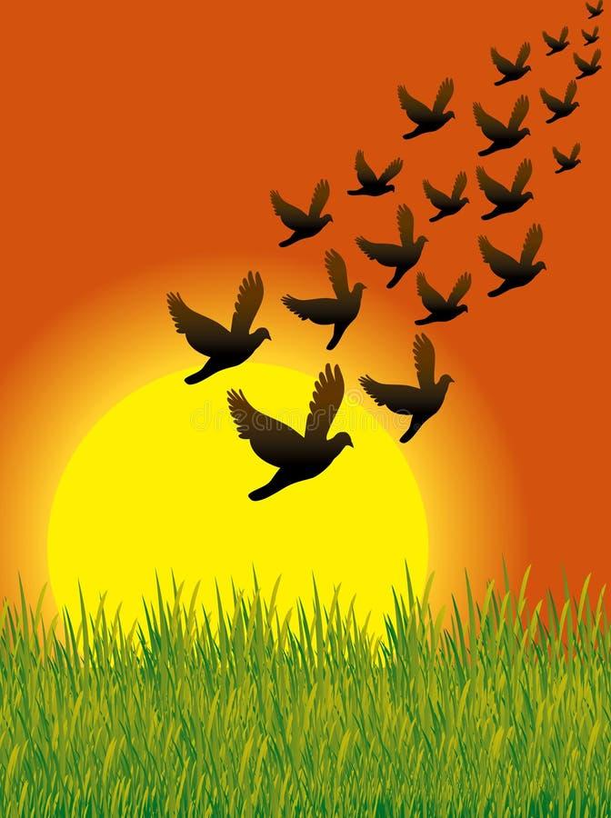 Los pájaros vuelan 01 ilustración del vector