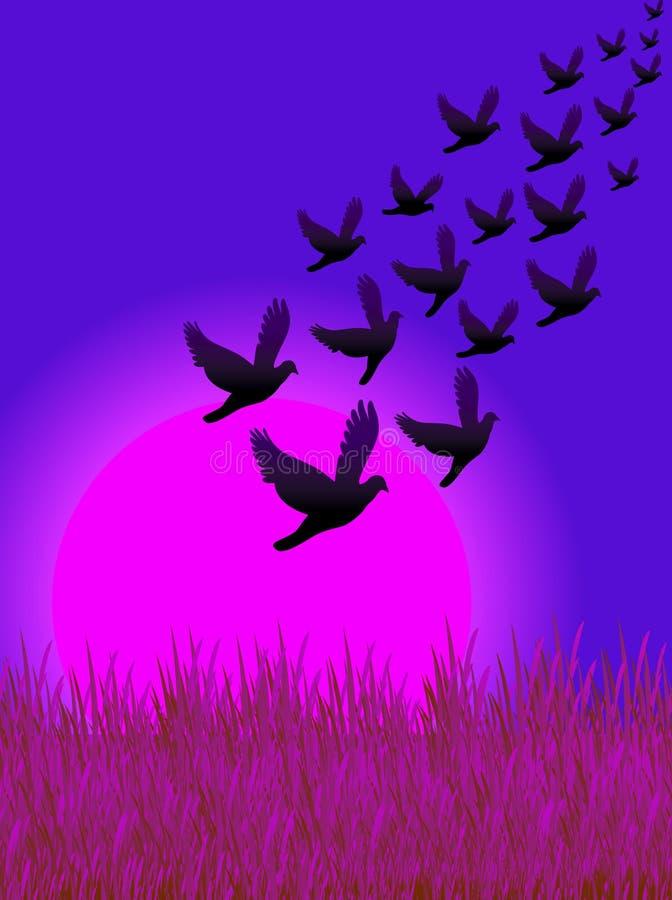 Los pájaros vuelan 02 ilustración del vector