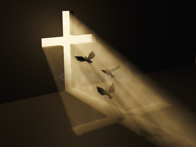 Los pájaros vuelan a dios de la obscuridad ilustración del vector