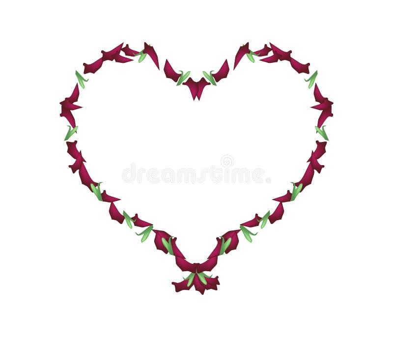 Los pétalos color de rosa hermosos de las rosas rojas en corazón forman stock de ilustración