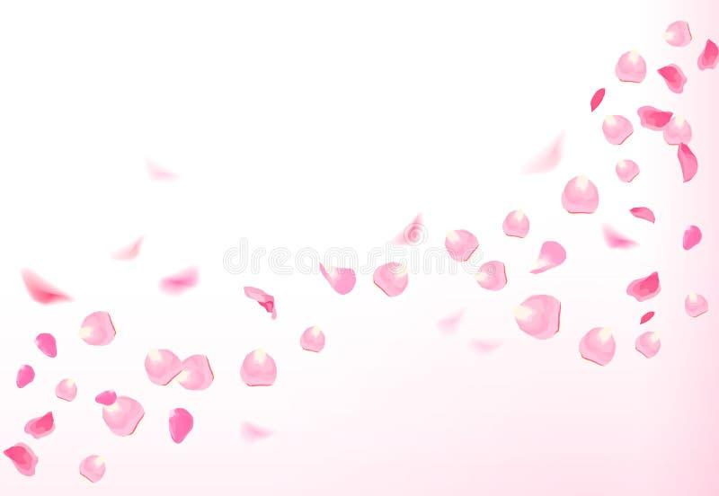 Los pétalos color de rosa rosados están volando en el aire con las llamaradas stock de ilustración