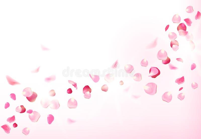 Los pétalos color de rosa rosados están volando en el aire con las llamaradas libre illustration