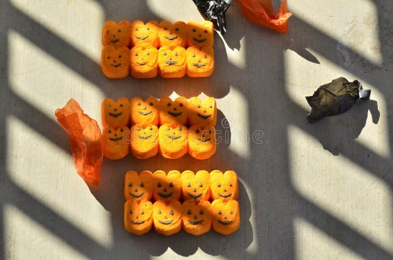 Los píos del caramelo del truco o de la invitación de Halloween levantan las linternas de o fotografía de archivo libre de regalías