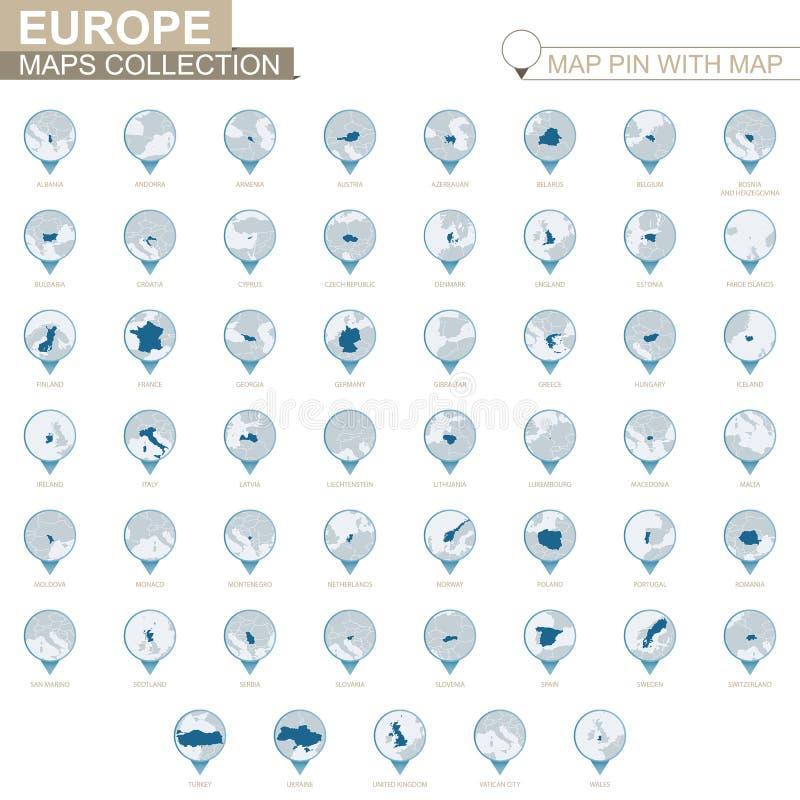 Los países europeos detallaron la colección de mapa, perno azul del mapa con el mapa del país stock de ilustración