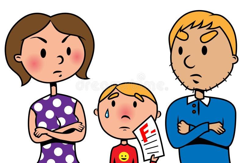 Los padres enojados en su niño debido a prueba fallan ilustración del vector