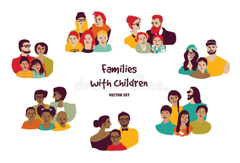 Los padres felices de las familias con los niños aislaron a los grupos fijados stock de ilustración