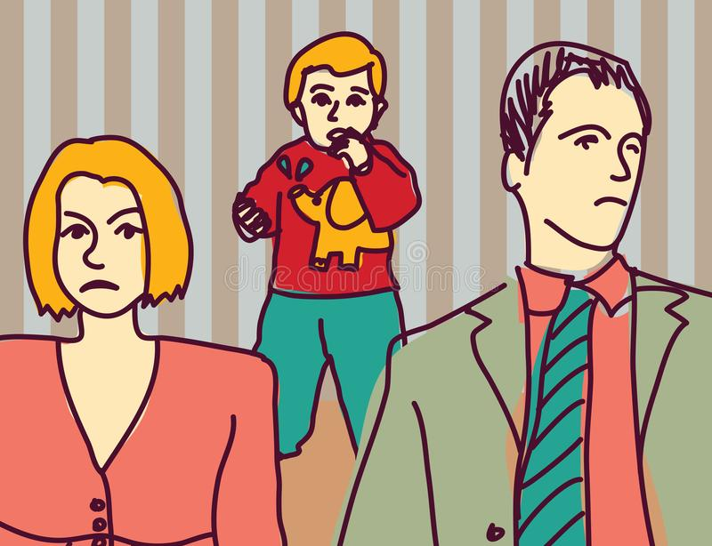 Los padres infelices de la pelea de la familia se divorcian al niño triste de la pareja stock de ilustración