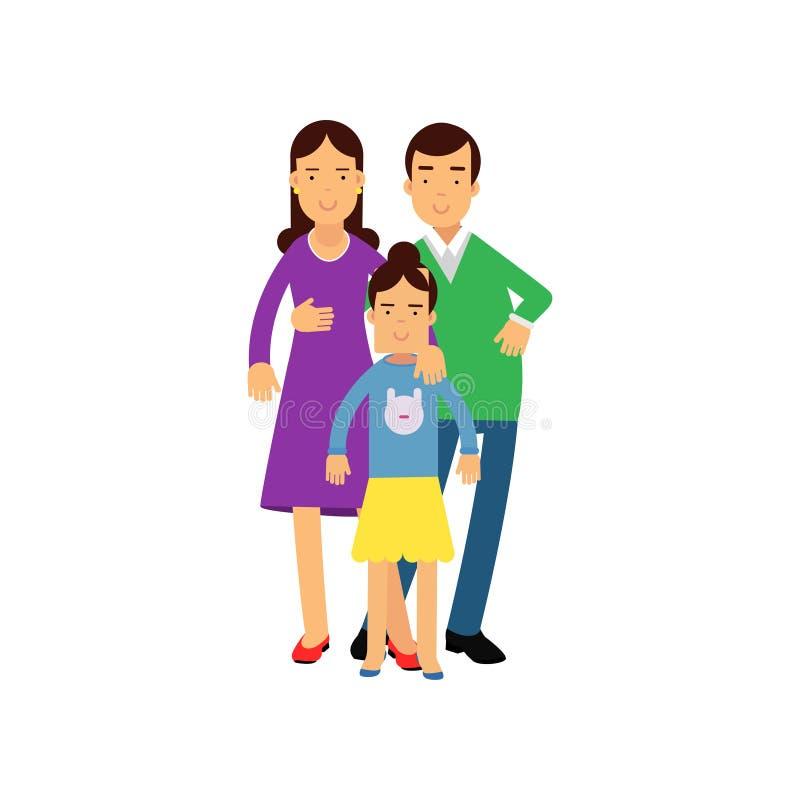 Los padres jovenes que presentan con su hija, marido y esposa con el niño vector el ejemplo libre illustration