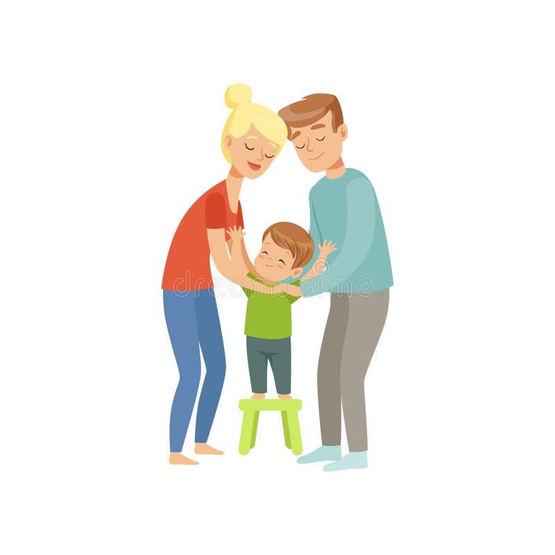 Los padres que abrazan a su hijo, madre y padre abrazando a su niño, familia feliz y concepto del parenting vector el ejemplo libre illustration