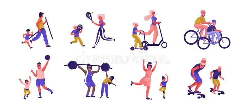 Los padres y los niños se divierten actividades Caracteres activos de la familia de la historieta que juegan a juegos y que pasan stock de ilustración