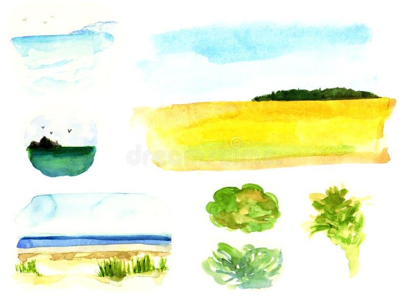 Los paisajes simples de las miniaturas colocan la acuarela de las gaviotas del cielo de la orilla de mar del prado del bosque de  ilustración del vector