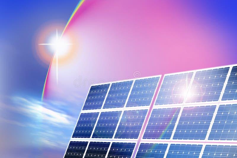 Los paneles de energía solar stock de ilustración