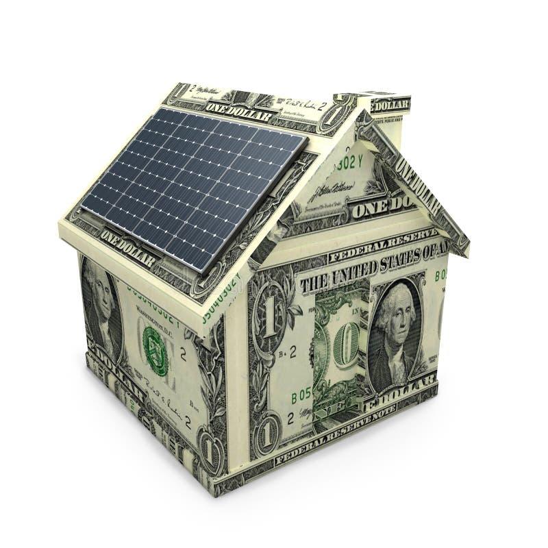 Los paneles de la energía solar en una casa del dólar. ilustración del vector