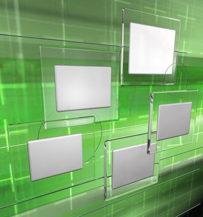 Los paneles de la tecnología, versión verde stock de ilustración