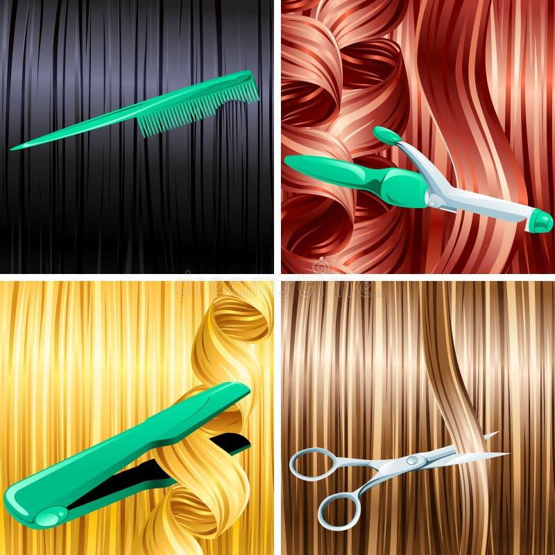 Los paneles del cuidado de pelo stock de ilustración