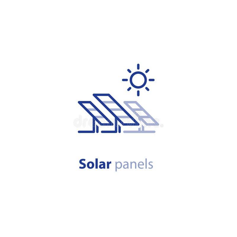 Los paneles solares alinean el icono, logotipo verde del concepto de la energía ilustración del vector